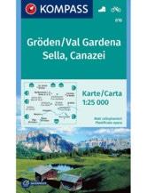 Wanderkarte Gröden, Val Gardena, Sella, Canazei