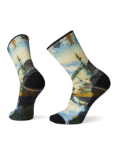 Hike Light Cushion Mountain Print Crew Socks Men
