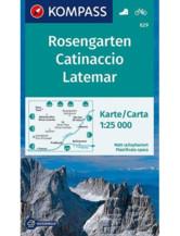 Wanderkarte 629 Rosengarten, Catinaccio, Latemar