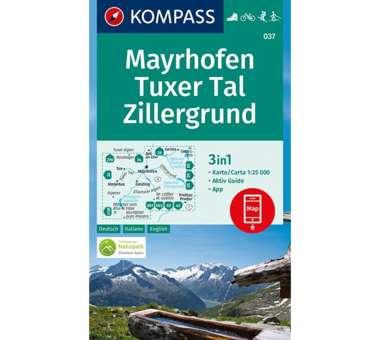 Wanderkarte Mayrhofen, Tuxer Tal, Zillergrund