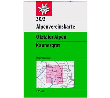 AV-Karte 30/3 - Ötztaler Alpen, Kaunergrat