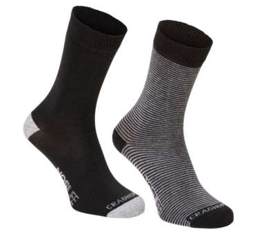 NosiLife Travel Socks Twin Pack charcoal/soft grey marl   39-42