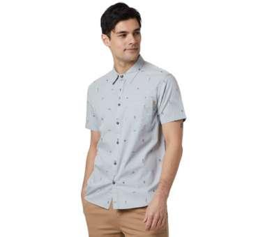 Men's Cotton Short Sleeve Button Up hi rise grey planting   S