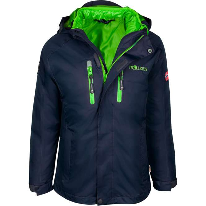 Trollkids navy/viper green | 140 - Kids Hammerfest 3in1 Jacket