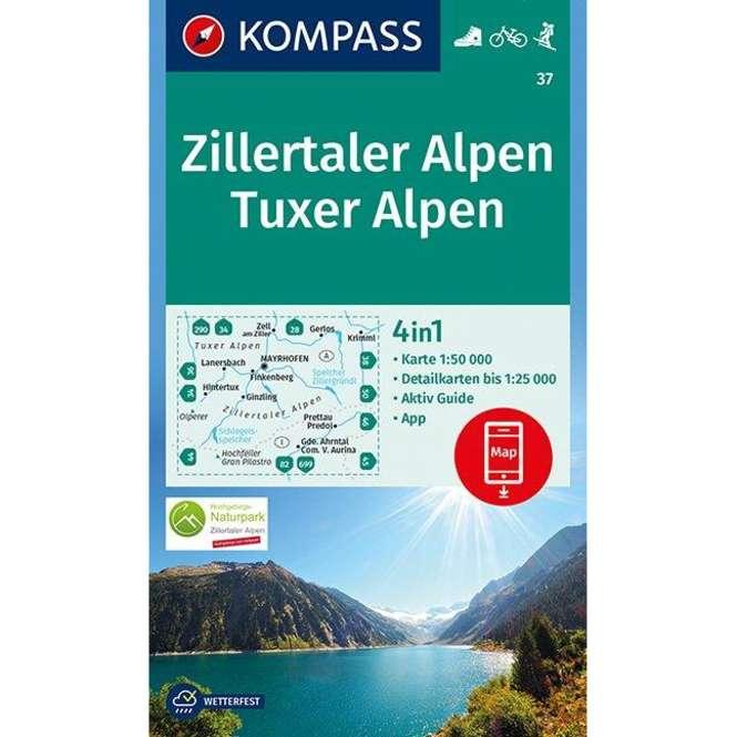 Kompass-Verlag Wanderkarte Zillertaler Alpen, Tuxer Alpen