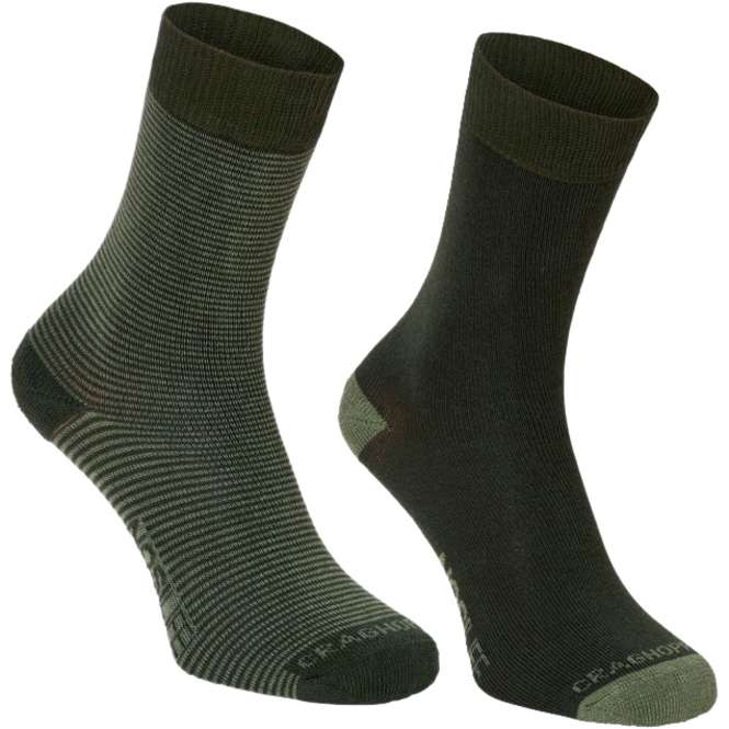 Craghoppers NosiLife Travel Socks Twin Pack - parka green/dry grass | 43-47
