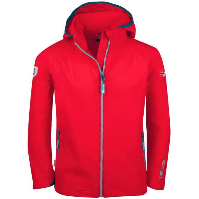 Trollkids Kids Kvalvika Jacket - red/dolphin blue | 140