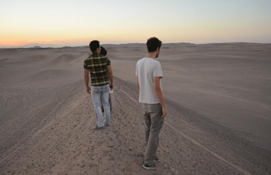Romantisch: Sonnenuntergang in der Wüste.