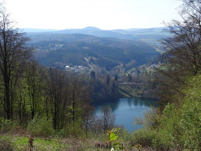 Blick von Mäuseberger Aussichtsturm auf das Gemünder Maar