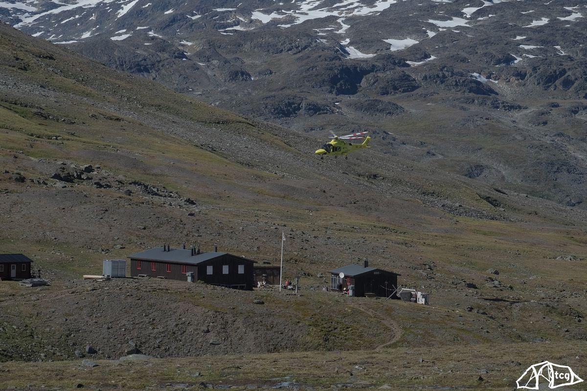 Der Wanderer schaffte es bis zur Hütte Tjäkja und wurde dann ausgeflogen. (2018)