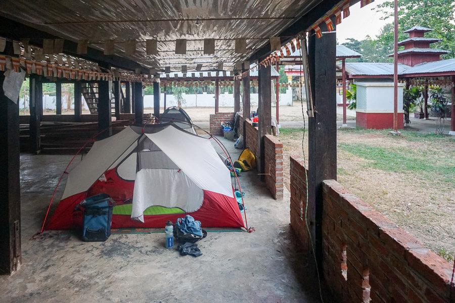 CAMP4 Testbericht MSR Elixier 2 - auch ohne Heringe gegen Mücken in einem Kloster in Myanmar