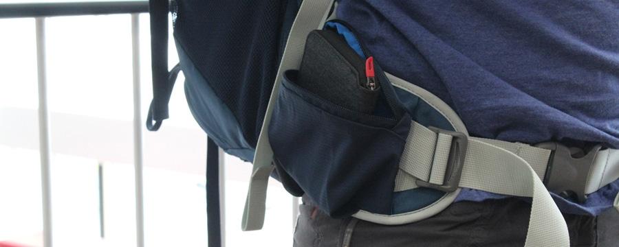 Taschen am Hüftgurt - ausreichend für ein Portemonnaie oder Smartphone
