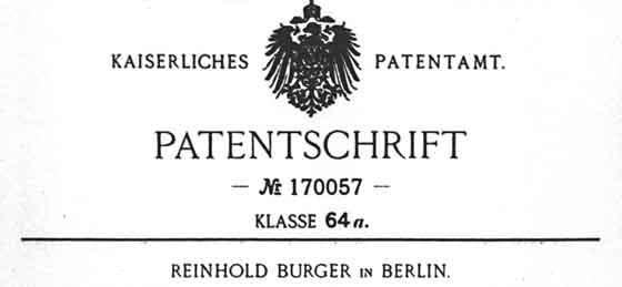 Patent von Reinhold Burger vor über 100 Jahren.