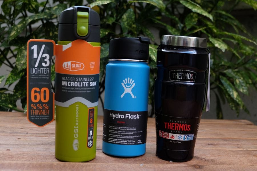 GSI Microlight, HydroFlask Wide Mouth, Thermos King Mug