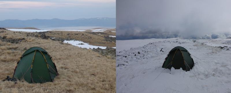 20 Zentimeter Neuschnee am Morgen und weitere Schneeschauen - ich verbrachte den Vormittag im Zelt. Alle Fotos: Phillipp