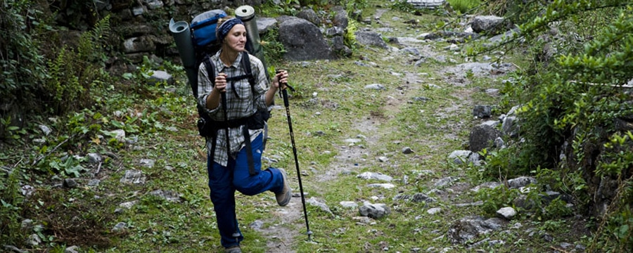 Die Autorin Anja Discher auf dem Annapurna Circuit. Alle Bilder: privat