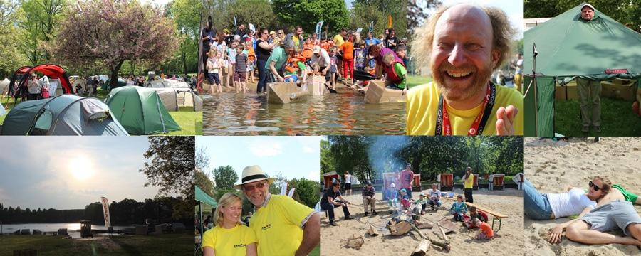 Eindruecke vom Orankecamp 14: Zeltstadt, Pappbootrennen, Eincremen, Spass, Stimmung, Spass 2, Stockbrot, chillen